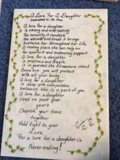A Love For A Daughter poem